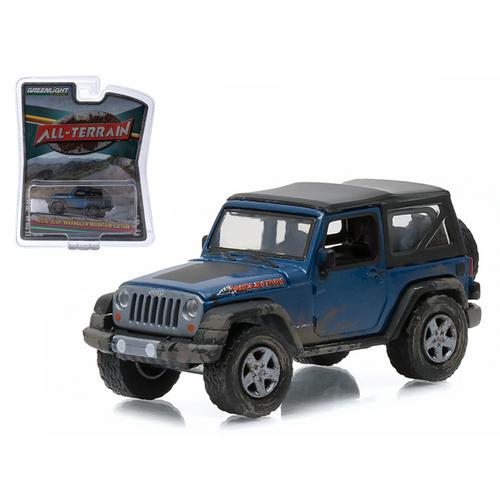 "2010 Jeep Wrangler Mountain Edition Deepwater Blue ""All Terrain"" Series 1 1/64 Diecast Model Car by Greenlight"