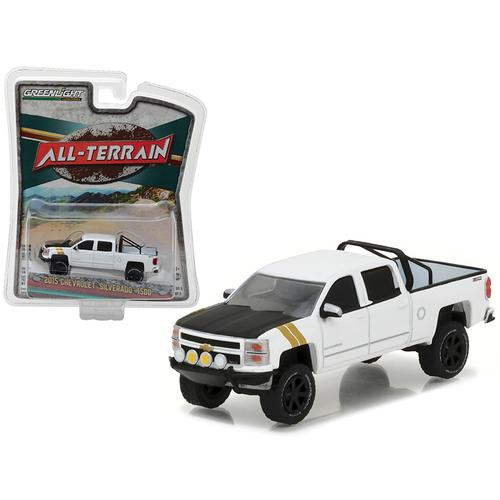 "2015 Chevrolet Silverado 1500 White Pickup Truck ""All Terrain"" Series 5 1/64 Diecast Model Car by Greenlight"