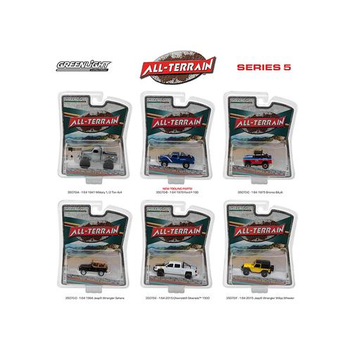 All Terrain Series 5, 6pc Diecast Car Set 1/64 Diecast Model Cars by Greenlight