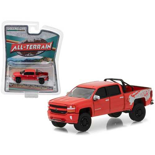 "2018 Chevrolet Silverado 1500 Red ""All Terrain"" Series 6 1/64 Diecast Model Car by Greenlight"