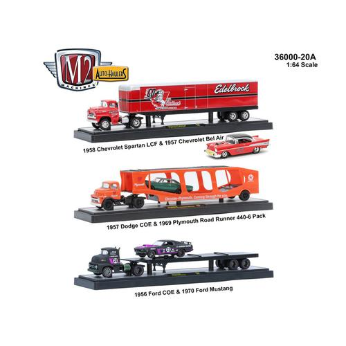 "Auto Haulers Release 20 ""A"", 3 Trucks Set 1/64 Diecast Models by M2 Machines"