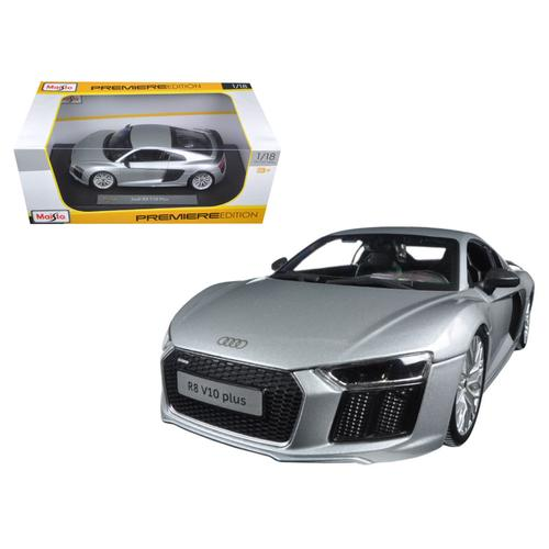 Audi R8 V10 Plus Silver 1/18 Diecast Model Car by Maisto