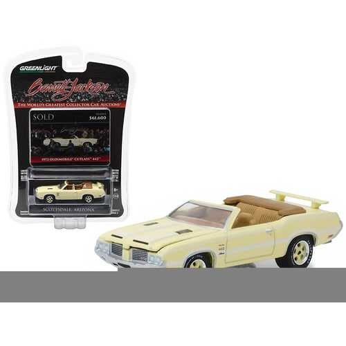 "1972 Oldsmobile Cutlass 442 ""Bada Bing"" Convertible Yellow Previously Owned by Actor James Gandolfini Barrett Jackson ""Scottsdale Edition"" Series 2 1/64 Diecast Model Car by Greenlight"