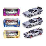 "Collect All 3pc Set Delorean Time Machine Trilogy Set ""Back To The Future 1,2,3"" 1/24 by Welly"