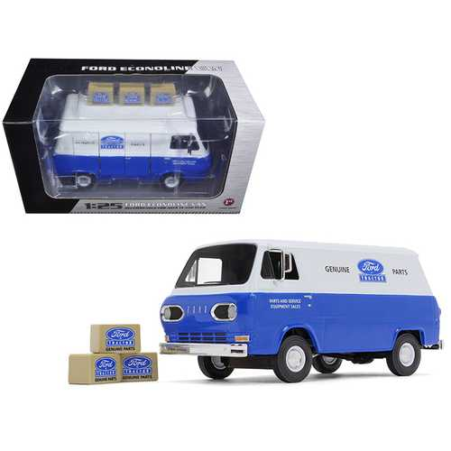 1960's Ford Econoline Van Blue with Three Boxes Ford Tractor Parts & Service 1/25 Diecast Model Car by First Gear