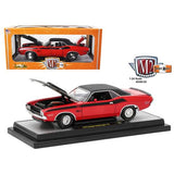 1970 Dodge Challenger T/A Bright Red with Flat Black Stripes 1/24 Diecast Model Car by M2 Machines