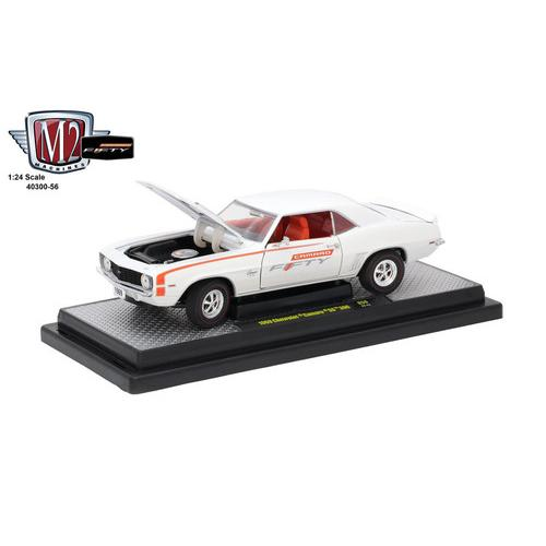 "1969 Chevrolet Camaro SS 396 Pearl White and Orange Stripes ""Camaro Fifty Years Anniversary"" Limited to 6000pc Worldwide 1/24 Diecast Model Car by M2 Machines"