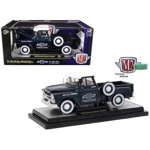 1958 Chevrolet Apache Stepside Steel Blue Metallic with Bright White Top 1/24 Diecast Model Car by M2 Machines