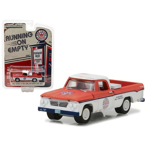 1962 Dodge D-100 Pickup Truck Long Bed with Tool Box Red Crown Gasoline 1/64 Diecast Model Car by Greenlight