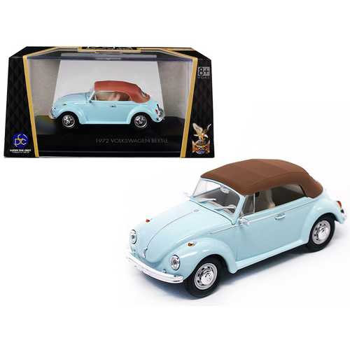1972 Volkswagen Beetle Closed Top Light Blue 1/43 Diecast Model Car by Road Signature
