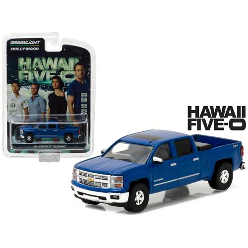 "2014 Chevrolet Silverado Pickup Truck Blue ""Hawaii Five-0"" TV Series (2010-Current) 1/64 Diecast Model Car by Greenlight"