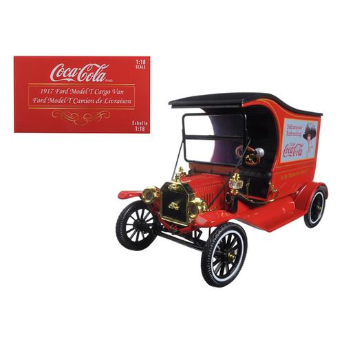 "1917 Ford Model T Cargo Van Coca-Cola ""Drink Delicious"" 1/18 Diecast Model Car by Motorcity Classics"