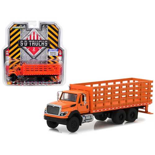 2017 International Workstar Platform Stake Truck Orange SD Trucks Series 2 1/64 Diecast Model by Greenlight