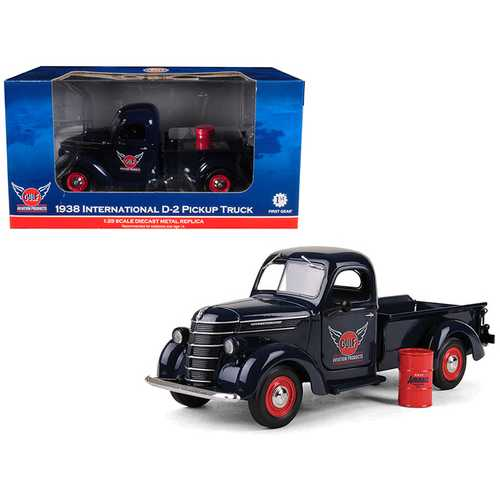 "1938 International D-2 Pickup ""GULF"" Aviation Products Truck With Barrel 1/25 Diecast Model by First Gear"