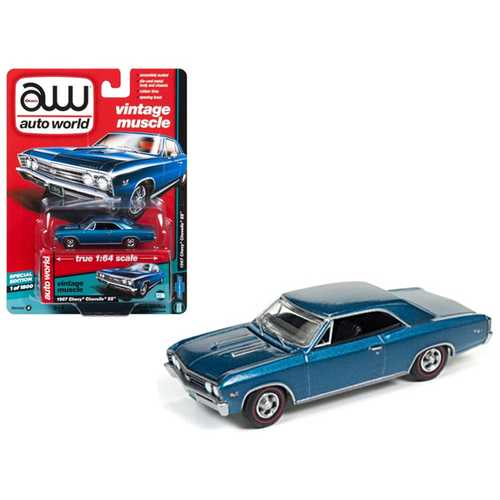 "1967 Chevrolet Chevelle SS Marina Blue ""Vintage Muscle"" 1/64 Diecast Model Car by Autoworld"