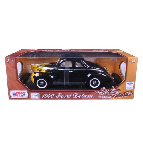 "1940 Ford Deluxe Black with Yellow Flames ""Timeless Classics"" 1/18 Diecast Model Car by Motormax"