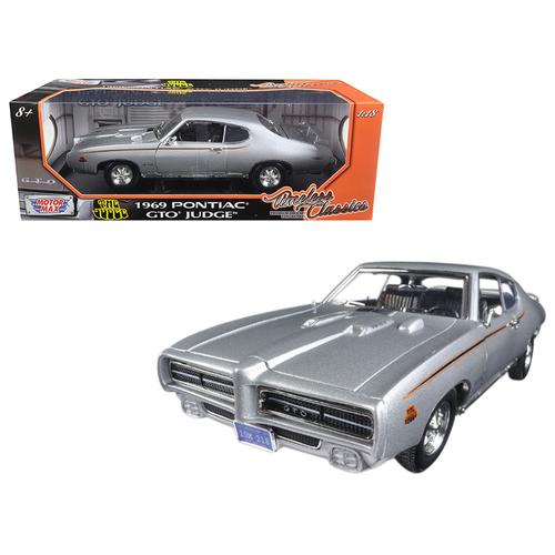 1969 Pontiac GTO Judge Silver Timeless Classics 1/18 Diecast Model Car by Motormax