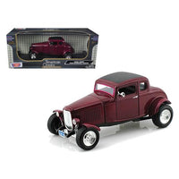 1932 Ford Five Window Coupe Burgundy 1/18 Diecast Car Model by Motormax