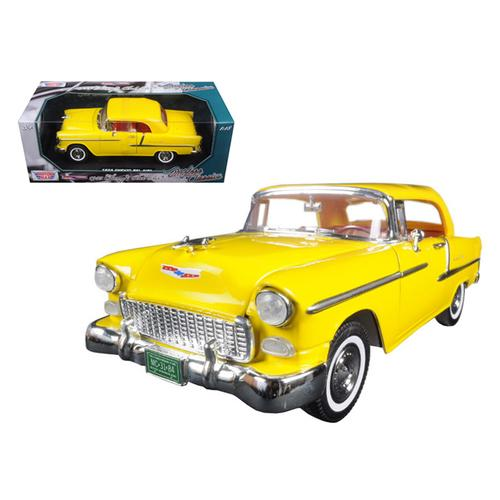 "1955 Chevrolet Bel Air Convertible Soft Top Yellow ""Timeless Classics"" 1/18 Diecast Model Car by Motormax"