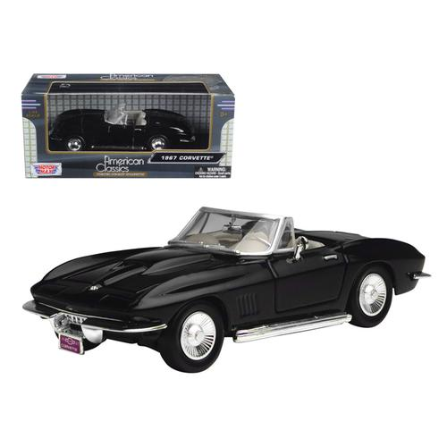 1967 Chevrolet Corvette Black Convertible 1/24 Diecast Car Model by Motormax