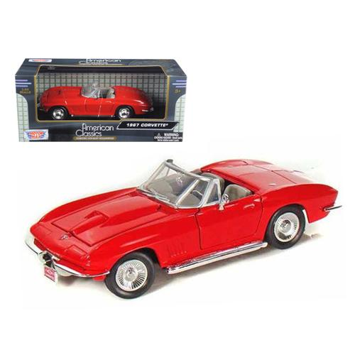 1967 Chevrolet Corvette Red Convertible 1/24 Diecast Car Model by Motormax