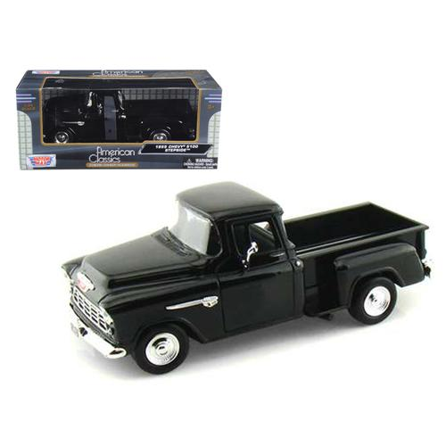 1955 Chevrolet 5100 Stepside Pickup Truck Black 1/24 Diecast Car Model by Motormax