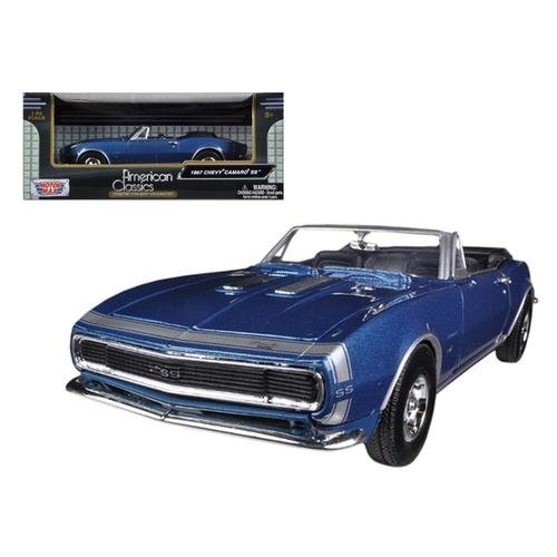 1967 Chevrolet Camaro SS Convertible Blue 1/24 Diecast Car Model by Motormax