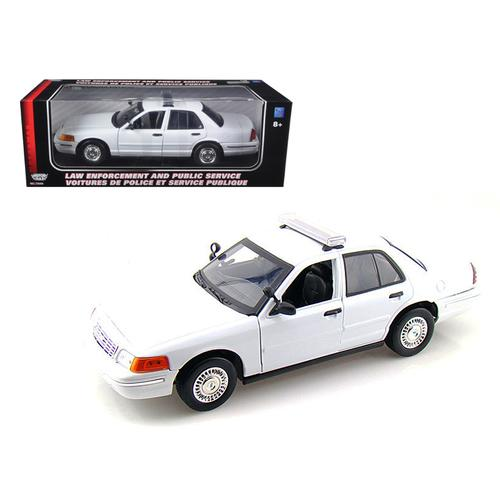2001 Ford Crown Victoria Unmarked White Police Car 1/18 Diecast Model Car by Motormax
