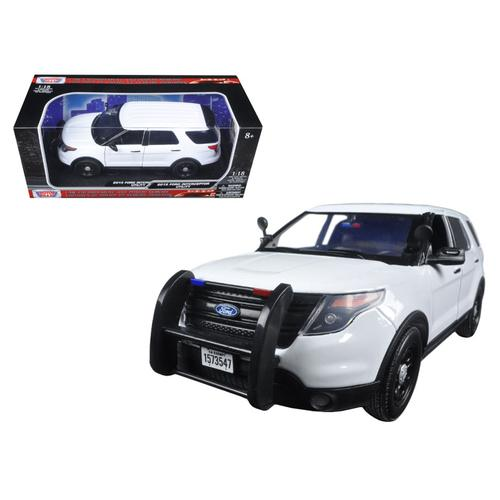 2015 Ford PI Police Utility Interceptor Slick Top White 1/18 Diecast Model Car by Motormax
