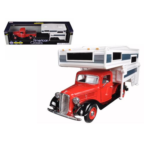 1937 Ford Pickup Truck Red With Camper 1/24 Diecast Model by Motormax