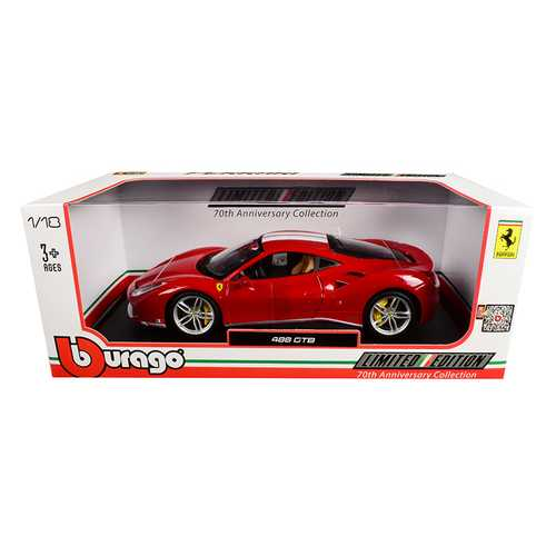 "Ferrari 488 GTB Red with White Stripes 70th Anniversary ""The Schumacher"" 1/18 Diecast Model Car by Bburago"