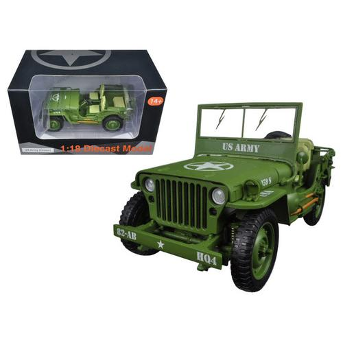 US Army WWII Jeep Vehicle Green 1/18 Diecast Model Car by American Diorama