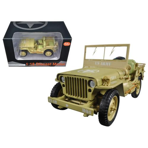 US Army WWII Jeep Vehicle Desert Color 1/18 Diecast Model Car by American Diorama