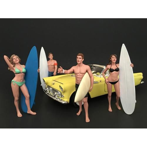 Surfers 4 Piece Figure Set For 1:18 Scale Models by American Diorama