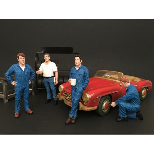 Mechanics 4 Piece Figure Set For 1:18 Scale Models by American Diorama
