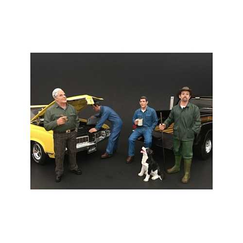 Mechanics, Customer and a Dog 5 Piece Figure Set For 1:18 Scale Models by American Diorama
