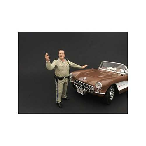 Highway Patrol Officer Directing Traffic Figurine / Figure For 1:18 Models by American Diorama