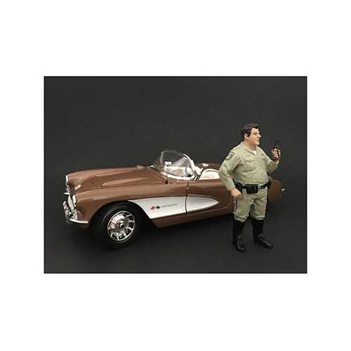 Highway Patrol Officer Talking on the Radio Figurine / Figure For 1:18 Models by American Diorama