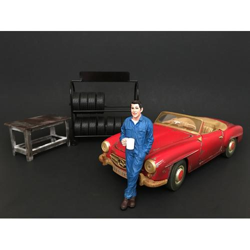 Mechanic Larry Taking Break Figure For 1:24 Scale Models by American Diorama