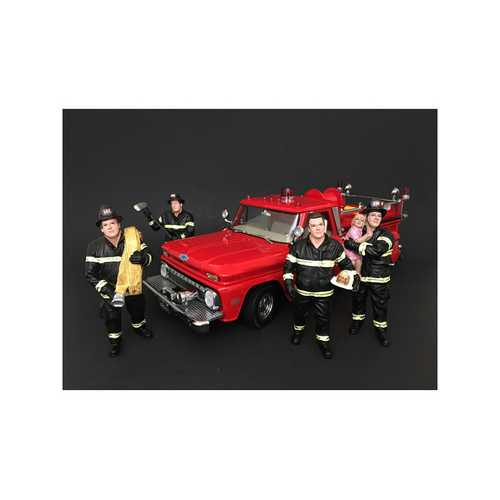 Firefighters 4 Piece Figure Set For 1:24 Scale Models by American Diorama