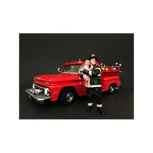 Firefighter Saving Life with Baby Figurine / Figure For 1:24 Models by American Diorama
