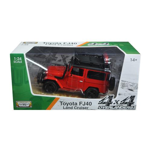 "Toyota FJ40 Land Cruiser Red ""4x4 Overlanders"" Series 1/24 Diecast Model Car by Motormax"