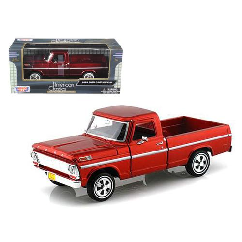 1969 Ford F-100 Pickup Truck Burgundy 1/24 Diecast Car Model by Motormax