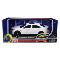 2013 Ford Police Interceptor with Flashing Lights and Two Sounds Plain White 1/24 Diecast Model Car  by Motormax