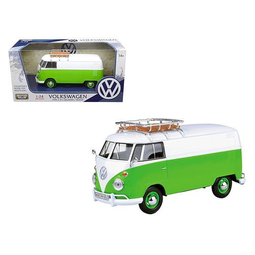 Volkswagen Type 2 (T1) Delivery Van Green/White 1/24 Diecast Model Car by Motormax