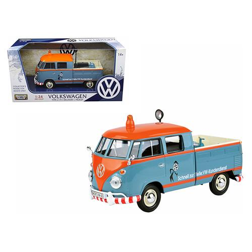 "Volkswagen Type 2 (T1) Delivery Pickup Truck Blue/Orange ""Kundendienst"" 1/24 Diecast Model Car by Motormax"