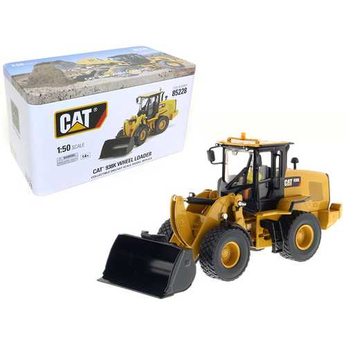CAT Caterpillar 938K Wheel Loader with Interchangeable Work Tools: Bucket and Fork with Operator 1/50 Diecast Model by Diecast Masters
