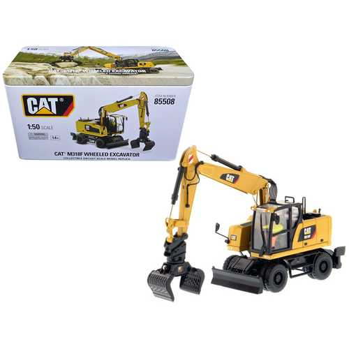 CAT Caterpillar M318F Wheeled Excavator with Operator High Line Series 1/50 Diecast Model by Diecast Masters