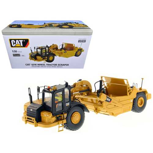 CAT Caterpillar 621K Wheel Tractor Scraper with Operator High Line Series 1/50 Diecast Model by Diecast Masters