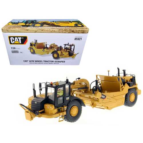 CAT Caterpillar 627K Wheel Tractor Scraper with Operator High Line Series 1/50 Diecast Model by Diecast Masters